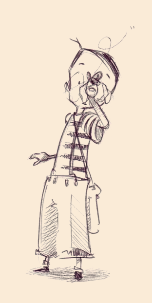 Pre-production sketch of a young Tony